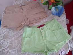 Shorts jeans e de pano