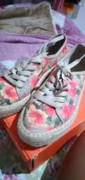 Sapato floral rosas