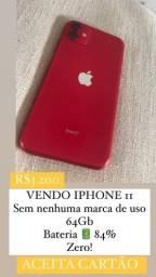 IPHONE 11 RED 64GB SEM MARCAS DE USO