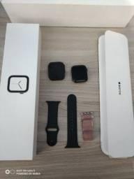 Apple Watch Series 4 44mm Aço + capa + pelicula + pulseiras aceito cartão