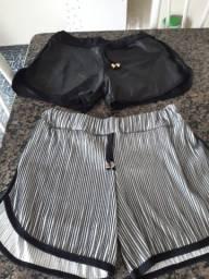 Short feminino cinza listrado