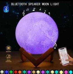 Luminária Lua Cheia 3D 16 cores c/ Caixa de som Bluetooth