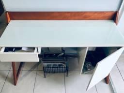 Escrivaninha retro estilo minimalista de madeira natural e vidro