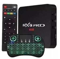 Tv Bo-x Transforma Tv MX Q Em Smart Android 4k Pro 4gb/64gb + teclado led -