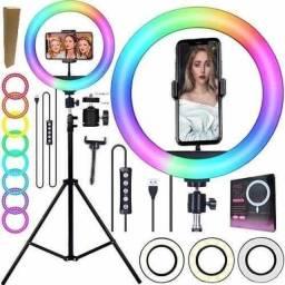 Anel de Iluminação Profissional Ring Light RGB Multicolorido + Tripé 2,10m
