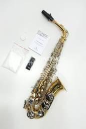 Sax Alto Michael M49 Dual Gold NOVO a Pronta Entrega