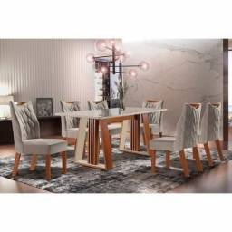 Conjunto Sala de Jantar Mesa Delta e 6 Cadeiras Deli - Catálago completo via whats