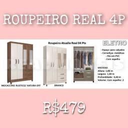 GUARDA-ROUPA REAL 4P ( PROMOÇÃO DE JULHO IMPERDÍVEL)!!