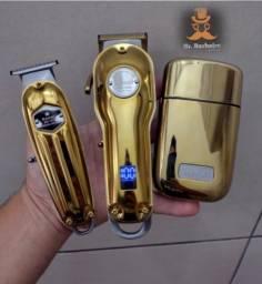 Kit Com 3 Máquinas de Cortar Kemei Sem Fio