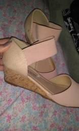 Sandália anabela rosa