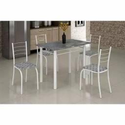 Conjunto de mesa rio com 4 cadeiras e tampo de mármore X538