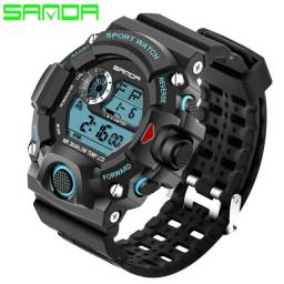 Relógio Masculino Sport Digital Sanda Led Azul - Super Elegante