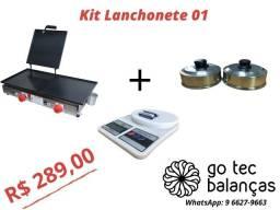 Kit Lanchonete Completo 01- Chapa lanche + Balança Digital + 02 Abafadores Alumínio