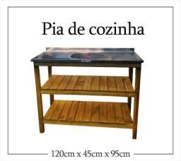 Mesa para pia de cozinha com prateleira