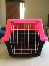 Caixa de transporte para pet na cor rosa/preto