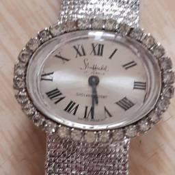 Relógio Sheffield com brilhantes sintéticos, linda pulseira em malha trançada