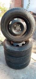 Rodas + pneus 165/70/13 Pirelli P 400 (Celta- Corsa)