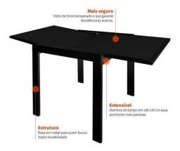 Mesa extensível preta - tampo de vidro