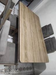Mesa em MDF 6 cadeiras estofadas