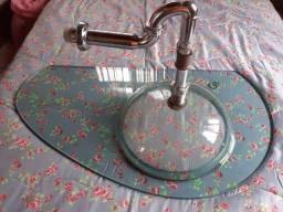 Pia de vidro com Cuba para banheiro.