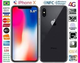 "iPhone X Black 256GB HexaCore, 3GB Ram, Tela 5.8"", Dual Câm 12MP, Novíss, Ciaxa, NF e Gar"