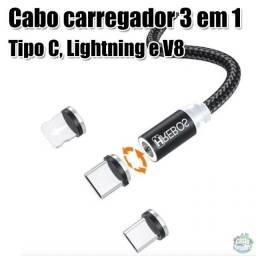 Cabo Magnético 3 em 1 - 2M - Tipo C, Lightning e Micro usb