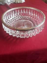Desapego centro mesa cristal e borda de prata
