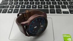 Relógio Séculus pulseira couro caixa aço
