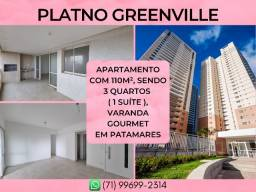 Platno Greenville, 3 quartos em 110m² com 2 vagas em Patamares - Excelente