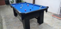 Mesa de BIlhar Charme Preta Tx Tecido Azul Modelo KSI7255
