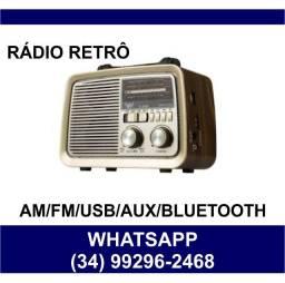 Rádio AM/FM Retrô Bluetooth Relógio Pendrive * Fazemos Entregas