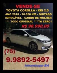Toyota Corolla - XEI 2.0 - ano 2018 - 20.000 km -  Impecável - Carro de Mulher