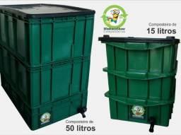 Composteira de 15 à 50 litros + Minhocas em até 12vezes