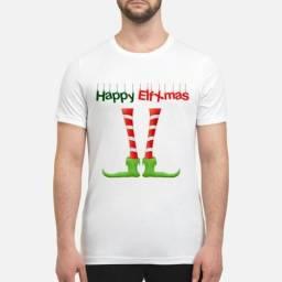Camisetas Happy ElfXmas Presente de Natal Tal Família Casal kids