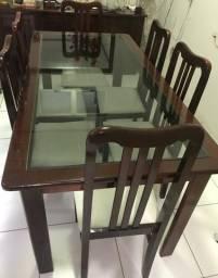Mesa Madeira + 06 cadeiras + Aparador