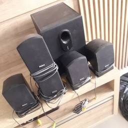 Home theater Philco 5 caixas  e 1 dvd caraoque com microfone