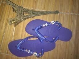 Sandálias customizadas Pedrarias de luxo