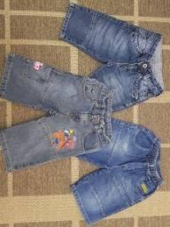 Bermudas, jeans, crianças, infantil, roupas, lote