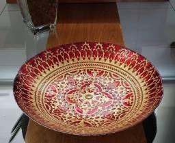 Centro de mesa decorativo nobre vermelho em vidro - lyor