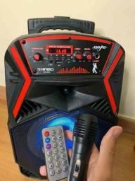 Caixa de som amplificada kimiso QS-803 1000w de potencia  e karaoke!!