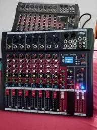 Mesa De Som 8 Canais Balanceados Com Bluetooth, USB, MP3 e Display Digital<br>