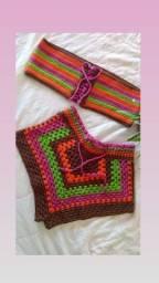 Conjunto blogueira de crochê. Feito a mão sob medida!