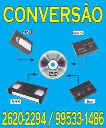 Conversão de fitas de vídeo cassete e filmadoras