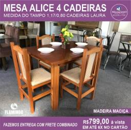 Mesa de Jantar Alice 4 Cadeiras Laura medida do tampo 117X80