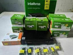 Kit com 8 câmeras de segurança em HD alta resolução Intelbras
