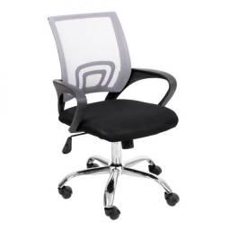 Cadeira de Escritório Secretária Giratória Preta e Cinza - 12X Sem Juros