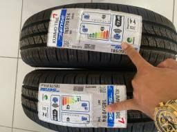 Dois pneus 175/70/14 zeros na etiqueta em 6x de 119,00 já no lugar