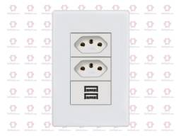 Tomada e Interruptor USB   2 Entradas