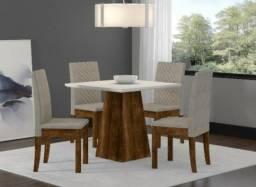 Mesa Cristal em MDF com 4 Cadeiras Estofadas - Show de Promoção - R$919,00