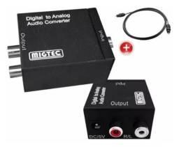 Conversor Áudio Óptico Coaxial P/analógico Rca p2 Saída - El201C - Mega Infotech